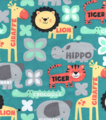 "Snuggle Flannel Fabric 42""-Zoo Animals With Words"