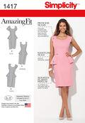 Simplicity Pattern 1417AA 10-12-14-1-Misses Dresses