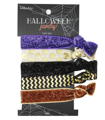 hildie & jo™ Halloween 5 Pack Hair Tie-Flat Glitter & Foil Pattern