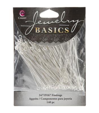 Jewelry Basics Eye Pins 140/Pkg-Bright Silver