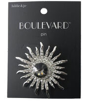 hildie & jo™ Boulevard Starburst Silver Pin-Dark Gold Crystal, , hi-res