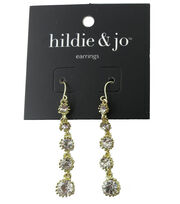 hildie & jo 1.88''x0.38'' Gold Earrings-Clear Crystals, , hi-res