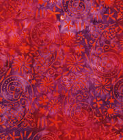 "Legacy Studio™ Indonesian Batiks Cotton Fabric 43""-Orange Pink Floral, , hi-res"