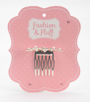 Fashion & Fluff™ Metal Crown Clip with Rhinestones Pink