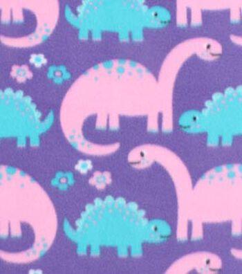 "Blizzard Fleece Fabric 59""-Girl Dinos On Purple"