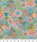 Double Faced Pre-Quilted Cotton Fabric 42\u0027\u0027-Teal Paisley
