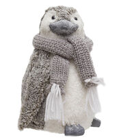 Blooming Holiday Christmas Snow Penguin with Scarf-Gray & White, , hi-res