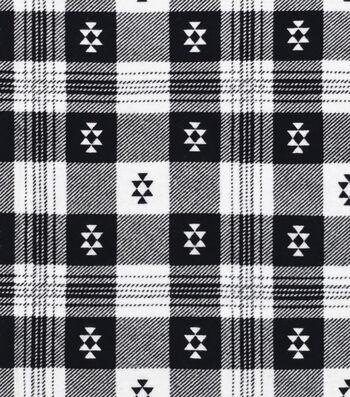 """3 Yard Pre-Cut Snuggle Flannel Fabric 42""""-Aztec Plaid Black"""