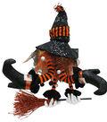 Maker\u0027s Halloween Witch with Broom Door Greeter-Orange