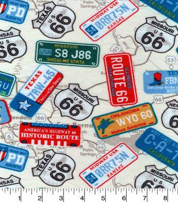 "3 Yard Pre-Cut Snuggle Flannel Fabric 42""-State License Plates"