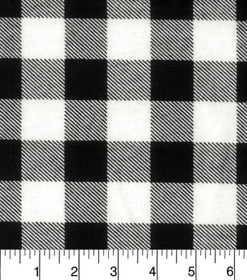 "Snuggle Flannel Fabric 42""-Black White Buffalo Check"