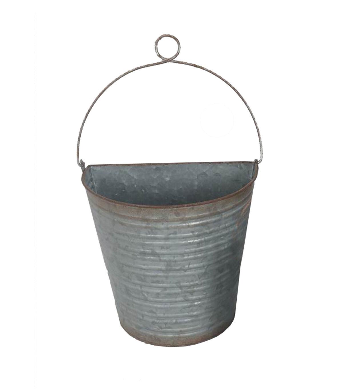 bloom room medium metal wall bucket with wire hanger