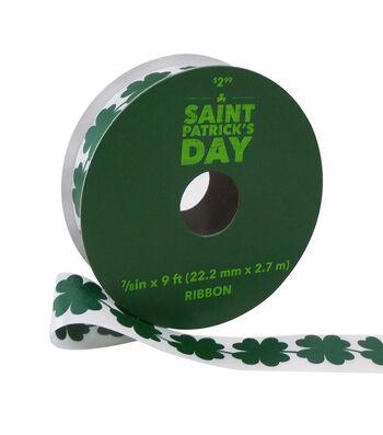 St. Patrick's Day Ribbon 7/8''x9'-Green Shamrocks on White