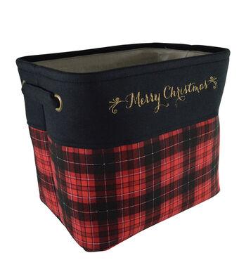 Maker's Holiday Small Soft Bin-Plaid & Merry Christmas