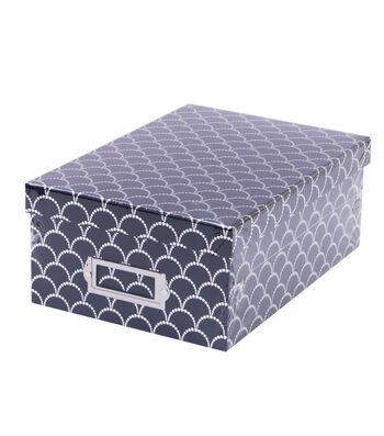 DCWV Indigo Photo Box Silver Scallop Dots