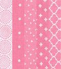 Jelly Roll Cotton Fabric 20 Strips 2.5\u0027\u0027-Assorted Pink & White Patterns