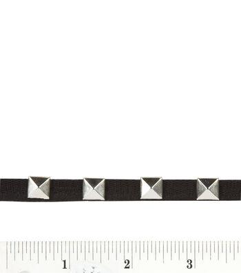 3/8'' silver pyramid rhinestone studded trim