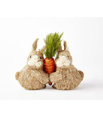 Easter Two Sisal Bunnies Holding Carrot
