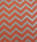 Keepsake Calico™ Cotton Fabric 43\u0022-Coral and Silve Chevron