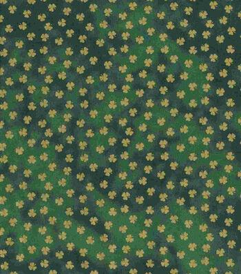St. Patrick's Day Fabric 43''-Green Metallic Shamrocks