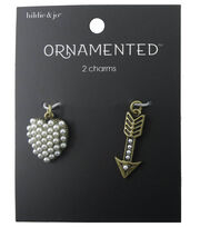 hildie & jo™ Ornamented Heart & Arrow Antique Gold Charms-Pearls, , hi-res