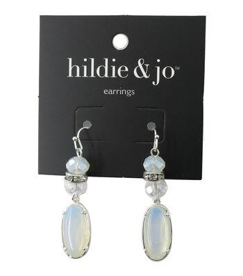 hildie & jo™ Oval Silver Earrings-White & Clear Stones