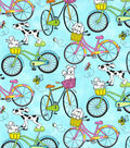 Novelty Cotton Fabric 44\u0022-Pups Riding Bikes
