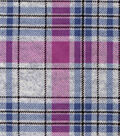 Luxe Flannel Fabric 42\u0022-Gray Plum Heather Plaid