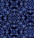 Luxe Flannel Fabric 42\u0022-Denim Medallion