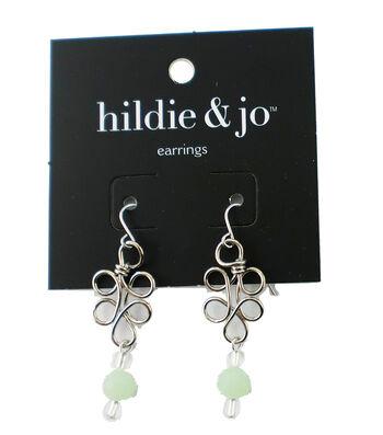 hildie & jo™ Wrap Wire Silver Earrings-Green & Clear Crystals