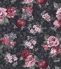 Vintage Cotton Fabric 43\u0027\u0027-Small Bouquet on Navy