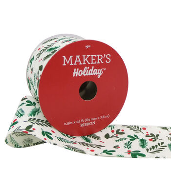Maker's Holiday Christmas Ribbon 2.5''x25'-Leaves on White