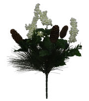 Blooming Holiday Christmas 19'' Pine, Pinecone & Berry Spray-White, , hi-res