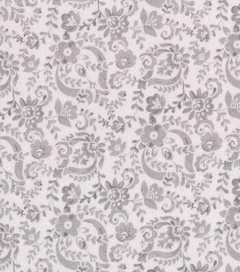 "Keepsake Calico™ Cotton Fabric 43""-Gray Floral Scroll"