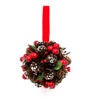 Blooming Holiday Pinecone, Berry & Leaves Kissing Ball-Red & Brown, , hi-res