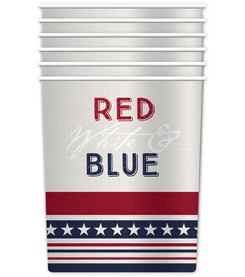 Americana Patriotic 6 pk Paper Cups-Red, White & Blue