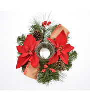 Blooming Holiday 12'' Poinsettia, Pinecone, Pine & Burlap Candle Holder, , hi-res