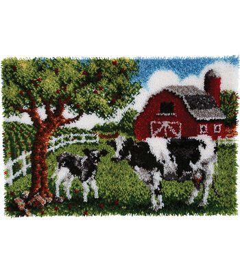 "Wonderart Latch Hook Kit 27""X40""-Contented Cows"