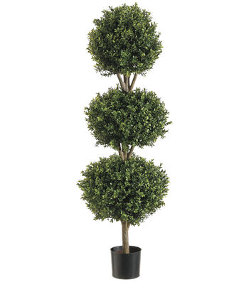 Bloom Room Luxe 48'' Triple Ball-Shaped Boxwood Topiary-Green