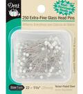 Dritz Glasshead Pins 250pcs Size 22 White