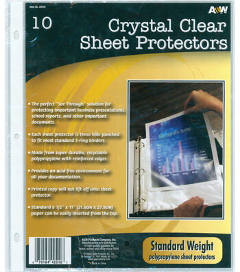 """A&W Office Supplies 9.2""""X11.2"""" Page Protectors 10Pk-Clear"""