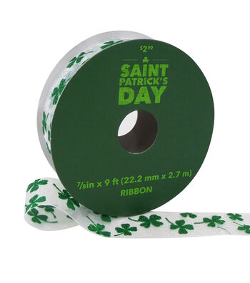 St. Patrick's Day Sheer Ribbon 7/8''x9'-Green Shamrocks on White