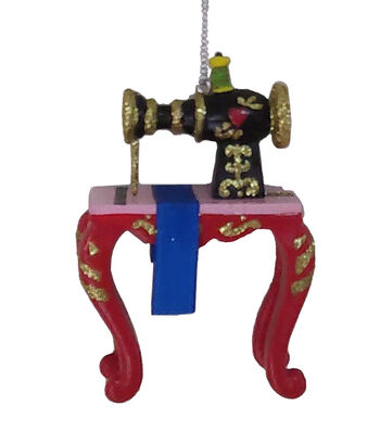 Maker's Holiday Christmas Resin Sewing Machine Ornament