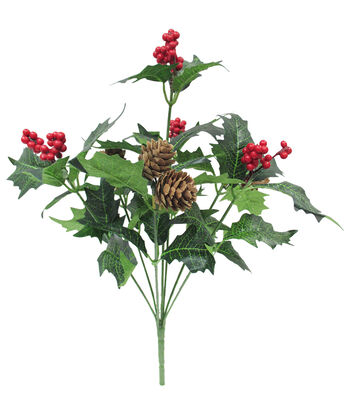Blooming Holiday 14'' Berry, Holly Leaves & Pinecone Spray-Red & Green