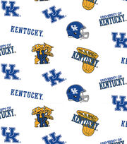 "University of Kentucky Wildcats Cotton Fabric 44""-White All Over, , hi-res"