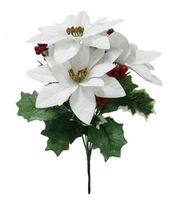Blooming Holiday Christmas 13'' Poinsettia & Berry Mixed Spray-White, , hi-res