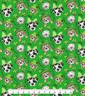St. Patrick\u0027s Day Glitter Print Fabric 44\u0027\u0027-Green With St. Pats Pups