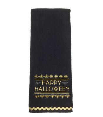 Maker's Halloween Velour & Terry Hand Towel-Gilded Happy Halloween