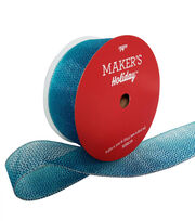 Maker's Holiday Christmas Glitter Value Ribbon 2.5''x100'-Blue Ombre, , hi-res