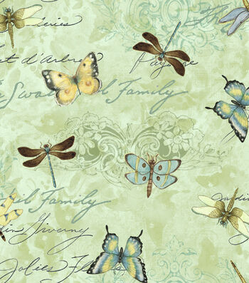 "Susan Winget Premium Cotton Fabric 44""-Dragonflies"